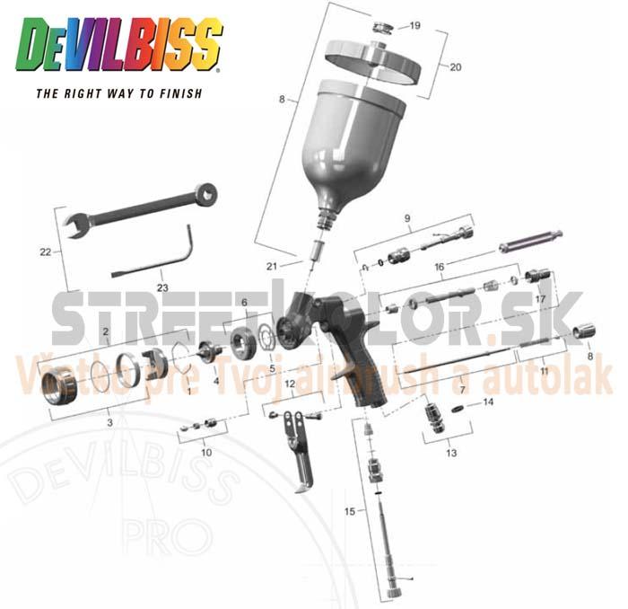 Striekacia pištoľ DeVilbiss PRI PRO LITE - Zoznam dielov