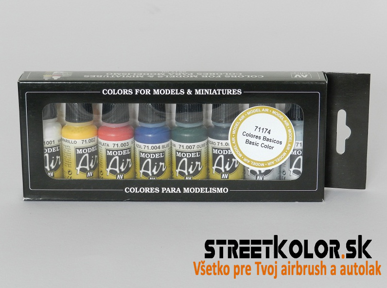 "Vallejo sada 71174 Airbrush farieb ""Basic"" 8x17ml"
