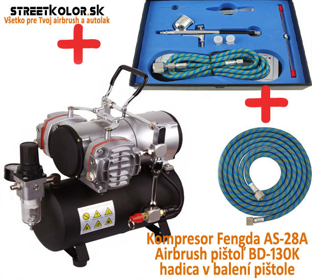 Airbrush set: Kompresor AS-28A a pištoľ  BD-130K 0,2+0,3+0,5mm + hadica
