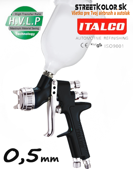 ITALCO D-951 BLACK HVLP 0,5mm, mini striekacia pištoľ,  (50-110l/min.)