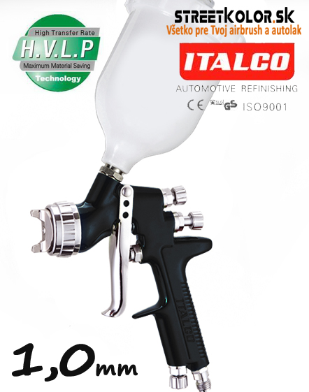 ITALCO D-951 BLACK HVLP 1,0mm, mini striekacia pištoľ,  (50-110l/min.)