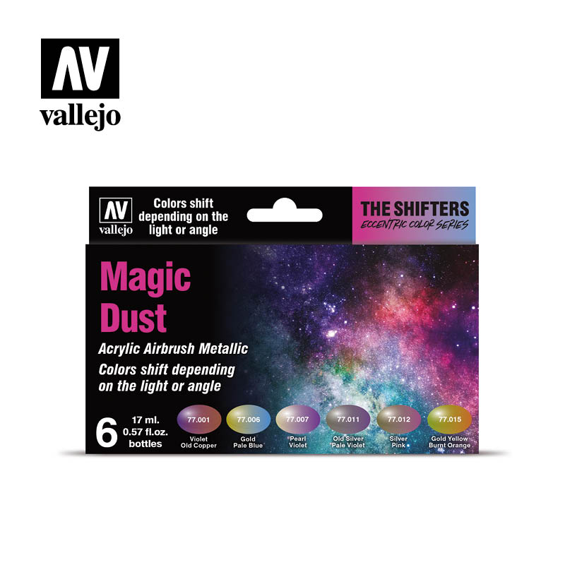 Vallejo sada 77.090 airbrush farieb Magic Dust 6x17 ml