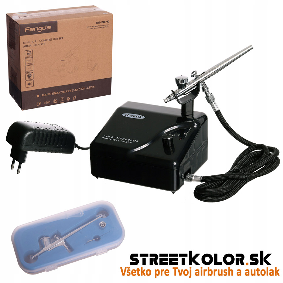 Airbrush sada s kompresorom FENGDA AS-207K a airbrush pištoľou BD-207 0,2mm