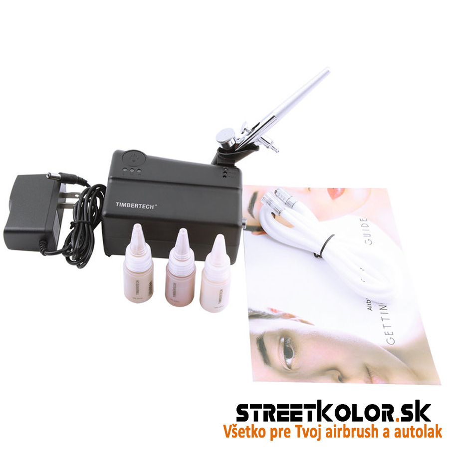 Airbrush set: Kompresor FENGDA TIMBERTECH MK-200 s pištoľou a make-up farbami