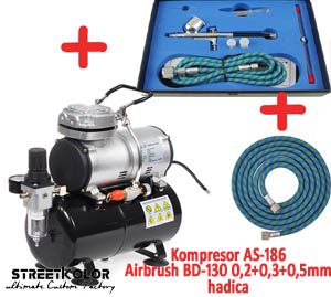 Airbrush set: Kompresor AS-186 a pištoľ  BD-130K 0,2+0,3+0,5mm + hadica