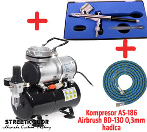 Airbrush set: Kompresor AS-186 a pištoľ BD-130 + hadica