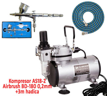 Airbrush set: Kompresor AS18-2 + Airbrush pištoľ BD-180 0,2mm + hadica