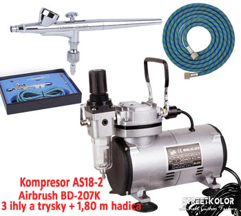 Airbrush set: Kompresor AS18-2 + Airbrush pištoľ BD-207K + hadica