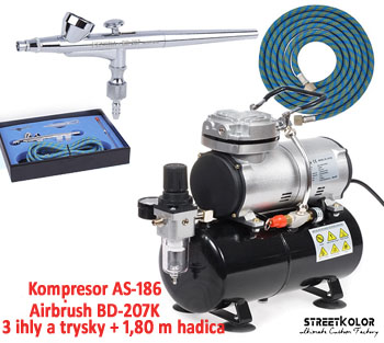 Airbrush set: Kompresor AS186 + Airbrush pištoľ BD-207K + hadica