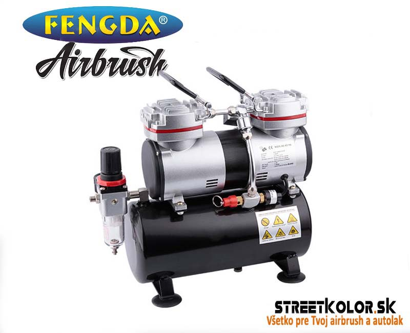 Airbrush kompresor FENGDA ® AS-196, Dvojvalcový