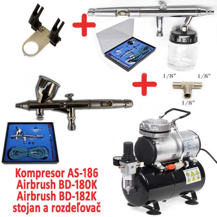 Airbrush set: Kompresor AS-186 + pištoľ BD-180K + pištoľ BD-182K