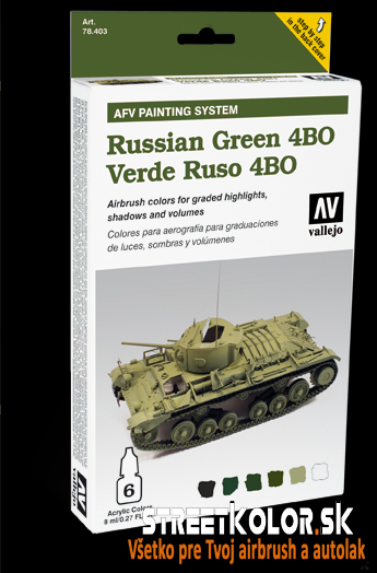 Vallejo sada airbrush farieb Russian Green 6x8 ml