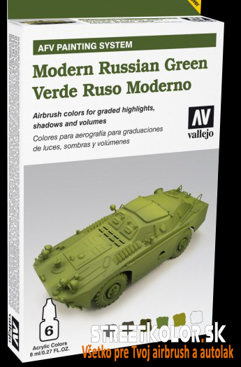 Vallejo sada airbrush farieb Modern Russian Green 6x8 ml