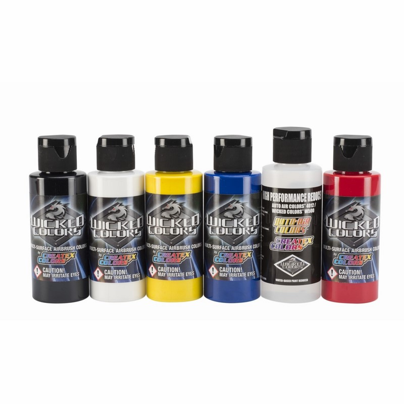 6x60ml Wicked Primary sada airbrush farieb