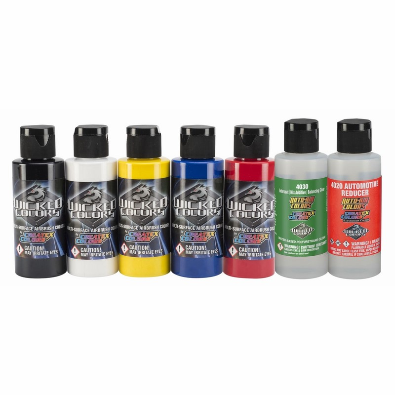7x60ml Wicked Primary sada airbrush farieb